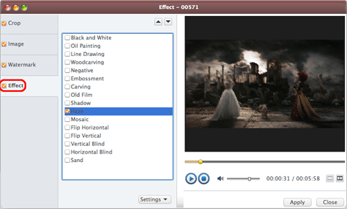 AVCWare Blu Ray Ripper for Mac Guide - Add effect
