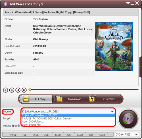 AVCWare DVD Copy - Load DVD